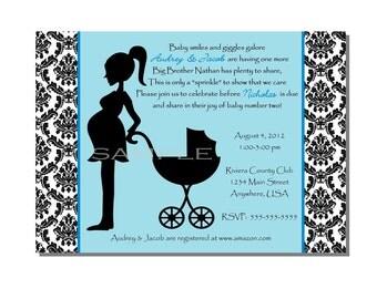 Damask Baby Shower Sprinkle Invitation Blue - DIGITAL or PRINTED