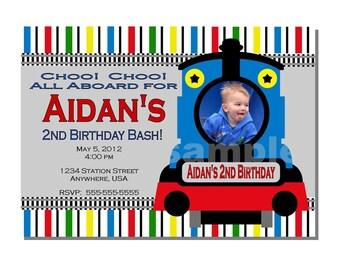 Train Invitation Birthday Party - DIGITAL or PRINTED