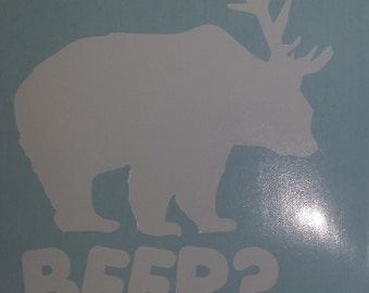 "Bear? Deer? BEER!   Funny Beer Sticker - 4"" x  4"" Weeded Vinyl Decal"