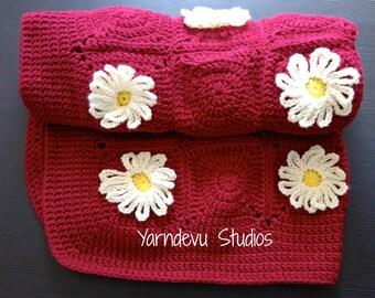 Crochet Daisy Baby Blanket, Baby Blanket, daisy Blanket, crochet blanket