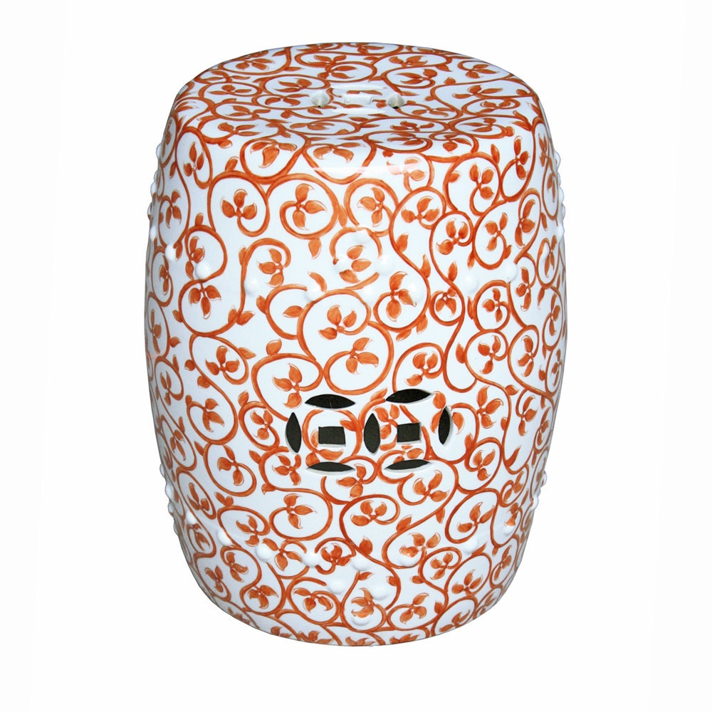 Decorative chinese porcelain orange and white vine motif and floral motif garden stools 17 tall - Decorative stools and benches ...