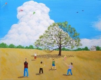 WIND BLOWN Kite Flying Original on CANVAS Acrylic Painting 16 X 20 Windy Summer Breeze Children Playing Kids Springtime Country Home