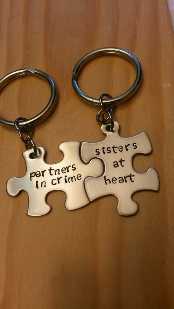 Lyric puzzle pieces lyrics : Hand Stamped Keychain Partners in Crime Sisters At Heart