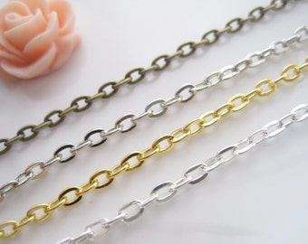 10m 3x4mm chains, oval flat chain Necklace link Jewelry finding chain wholesale xy