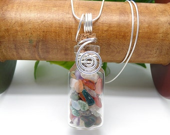 Multi Gemstone Necklace, Glass Jar Necklace, Sterling Silver, Wire Wrapped Glass, Healing Crystals and Stone Pendant, Natural Stone Jewelry