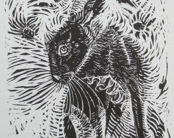 The Meadow Hare - Original Linocut Print