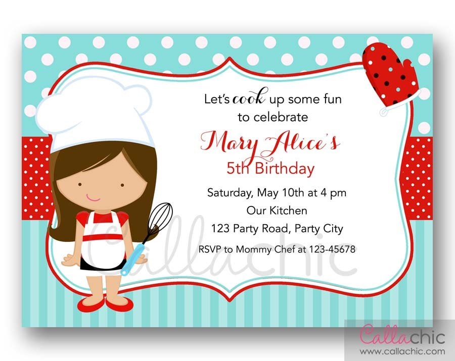 Chef Birthday Invitation PRINTABLE Girl/Boy Cooking Party /