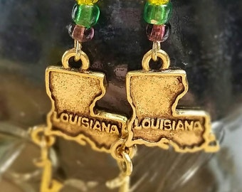Mardi Gras Louisiana dangle earrings.