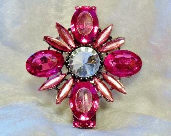 Dark Pink Austrian Crystal Star Flower Hair Clip Barette