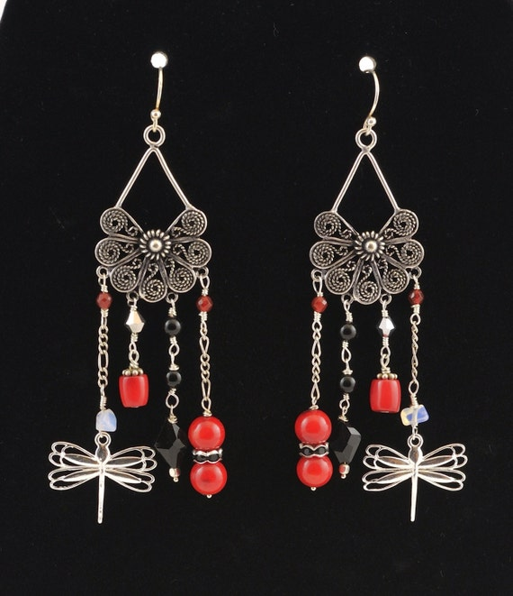 Red Coral Chandelier With 3 Lights: Dragonfly Chandelier Wire Wrapped Red Coral Silver Earrings
