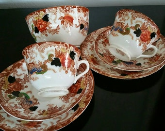 Doric Bone China Longton Made In England 2 Cups And Saucers With Cake Plates And Sugar Bowl