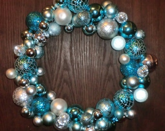 REDUCED PRICE Blue and Silver Ornament Wreath~ After Christmas Sale