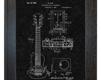 Framed Patent Print - Hart Electric Guitar Pickup WITH Real Rustic Wood Frame - Framed Patent Art