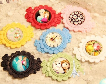 Wholesale 50pcs Mixed colors Victorian Resin Flower Frame Cameo Setting Flatback Cabochon 25mm,Children Girl Hair/Brooch Accessory