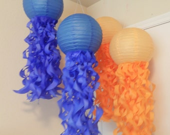 Jellyfish Paper Lanterns- Nursery decor- Mermaid Parties- Nursery Mobiles- Under The Sea- Blue and Tangerine party Decorations-Set of 4