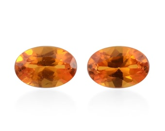 Orange Sapphire Synthetic Lab Created Loose Gemstones Set of 2 Oval Cut 1A Quality 6x4mm TGW 1.05 cts.