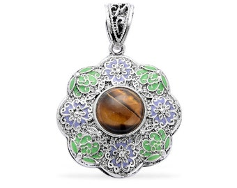 South African Tigers Eye Round Green and Blue Floral Pendant in Silvertone Without Chain TGW 12.00 cts.