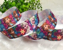 """1""""25mm 100yds Disney Princess Inspired FROZEN Movie Elsa&Anna Printed Grosgrain frozen Ribbon Hairbow Wholesale by the yard Supply #1165"""
