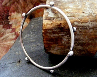Rustic Silver Bangle with silver balls Brushed Silver Bracelet with silver buds