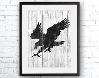 Eagle art illustration, Eagle painting, Wood Eagle, Wall art,Rustic Wood art,Animal print,Home Decor,Animal silhouette, Eagle silhouette