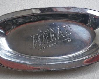 Silverplate engraved bread serving plate, platter, serving dish