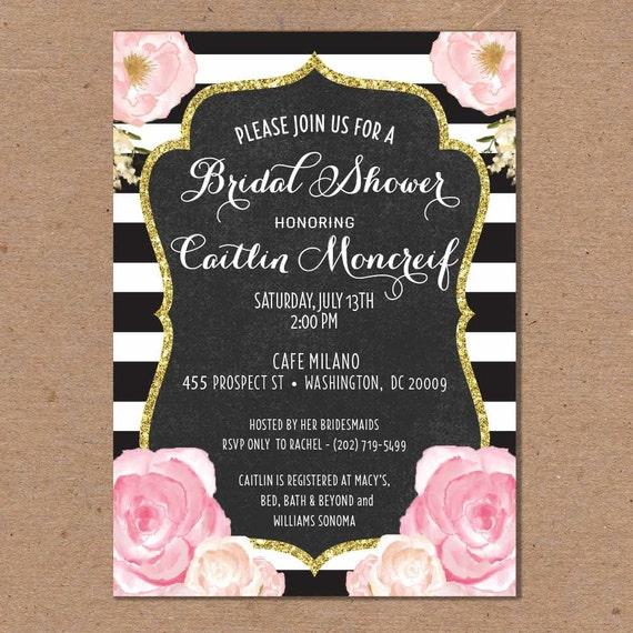 Items similar to Bridal Shower Invitation Black and White – Black and White Wedding Shower Invitations