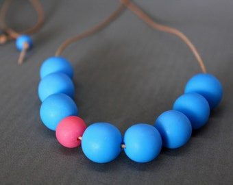 Blue Necklace, Handmade Necklace, Bead Necklace, Adjustable length Necklace, Leather Necklace, Pink and Blue