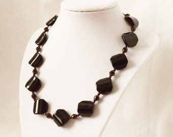 Black Nugget Necklace, Beaded Necklace, Black Necklace