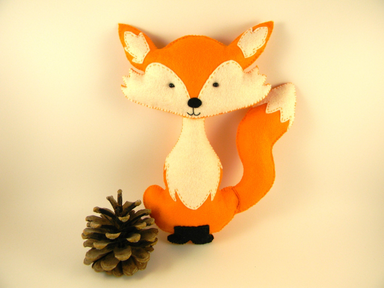 Personalized felt fox toy stuffed animal by