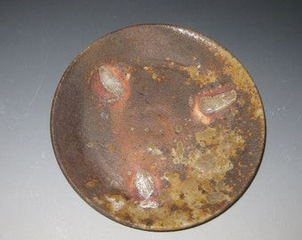 5 day anagama fired saucer with shell marks