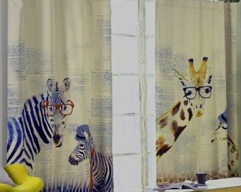 "Zebras or Giraffes Nursery or Kid's Room Window Curtain Panel - Triple Woven Light Blocking Fabric . 51"" Wide. Custom Curtain Made to Order."
