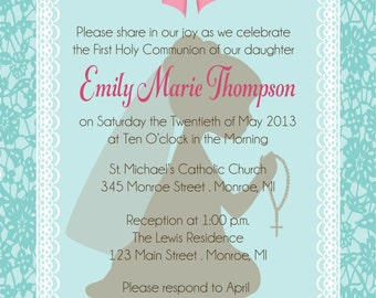 Lace Frame First Communion Invitation by FabPartyPrints