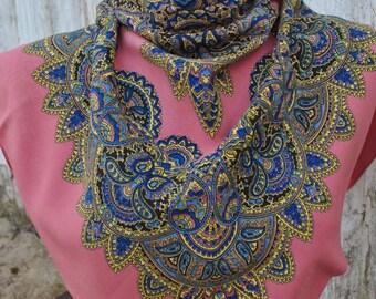 Vintage lilac paisley rayon square scarf