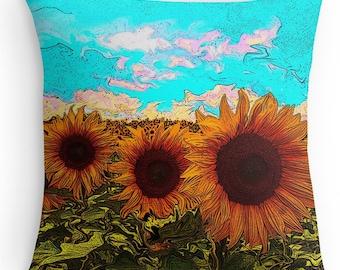 Throw pillow, sunflower pillow, Decorative pillow, accent pillow, sofa pillow, yellow sunflowers, throw pillow, toss pillows