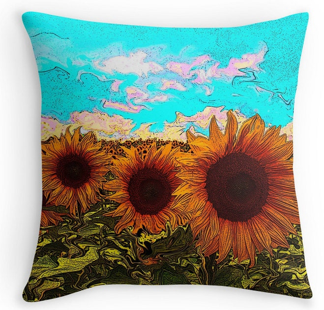 Throw pillow sunflower pillow Decorative pillow accent