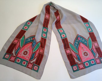 Beautiful Art Deco 1920'S Silk Scarf with Classic Deco Imagery
