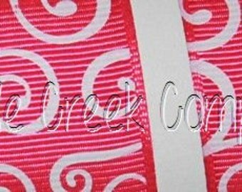 "1"" Dark Pink (Fuchsia) with White Swirls Grosgrain Ribbon 1"" x 1 yard"