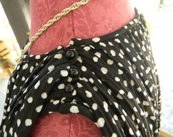 Vintage MORTON MYLES New York DRESS Black White Polka Dot Sleeveless Dress Flowy Stylish Summer Dress 1980s