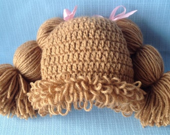 Baby Cabbage Patch Hat in Light Brown