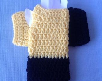Yellow & Black Fingerless Crochet Mittens