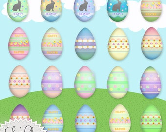 EASTER EGG CLIPART - Easter Eggs Decorated Clipart - 300dpi High Quality