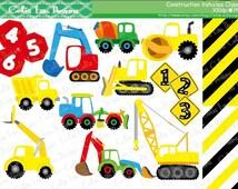 Construction Vehicles Digital Clipart and background ,Construction Clipart ,Trucks ClipArt, Dump Truck clip art / INSTANT DOWNLOAD  (CG114)