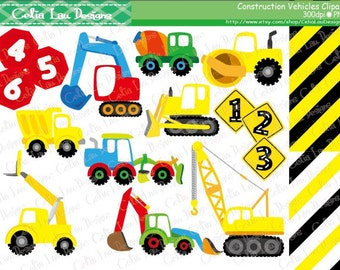 Construction Vehicles Digital Clipart and background ,Construction Clipart ,Trucks ClipArt, Dump Truck clip art / INSTANT DOWNLOAD  (CG114)
