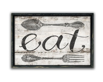 Eat sign kitchen sign eat wooden sign kitchen art kitchen wall art eat wall art restaurant decor restaurant signs diner signs business signs