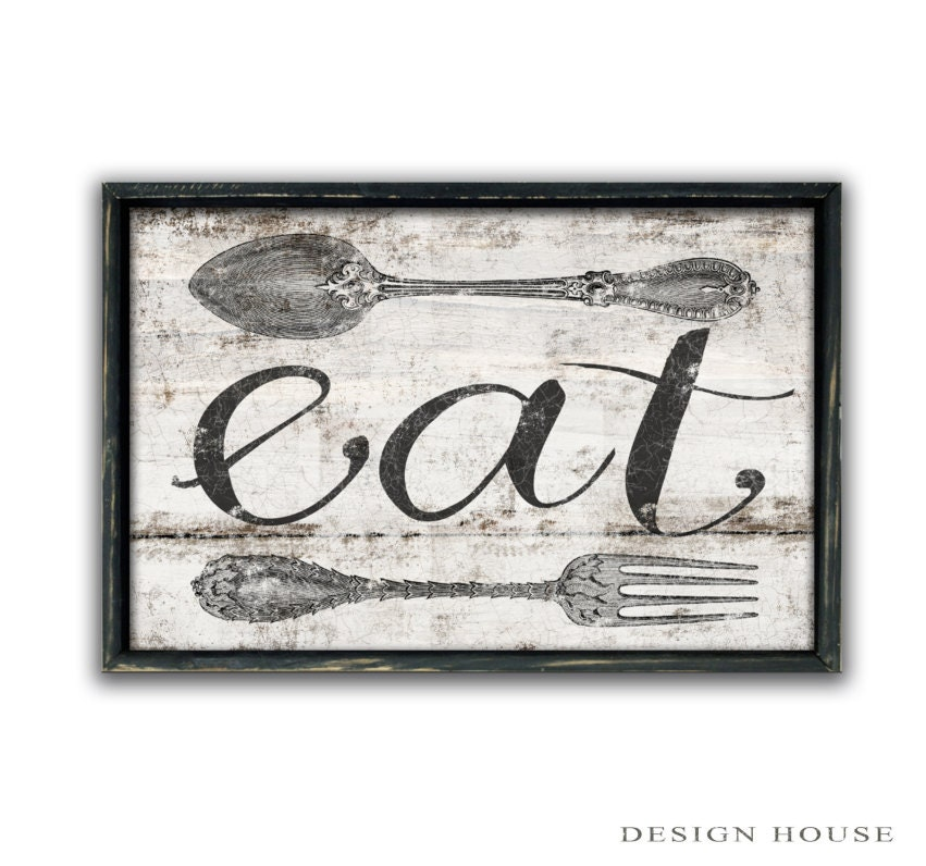 Wall Art Signs Kitchen : Eat sign kitchen wooden art wall