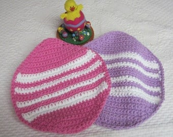 Crochet Dishcloth,Washcloth,Cotton Dishcloths,Easter Egg Shaped Dishcloths,Easter,Easter Egg,Kitchen,Retro,Housewares,Set of two,Gifts