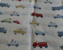 Pottery Barn Kids Twin Flat Sheet - Fire Truck - Taxi - Ambulance - Police - Scooter - Unused - Quilting