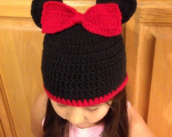 Minie Mouse inspired crochet hat, minie mouse hat, hat for girls