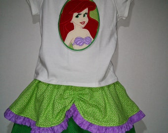 Princess Little Mermaid Ariel Fish Tail Boutique Birthday Party Embroidered Shirt Applique Twirl Twirly Skirt Set Girl Outfit! Fish Tail