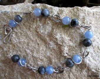 "Contemporary Bracelet ""Ouranos""- Sterling silver, celestite and larvikite"